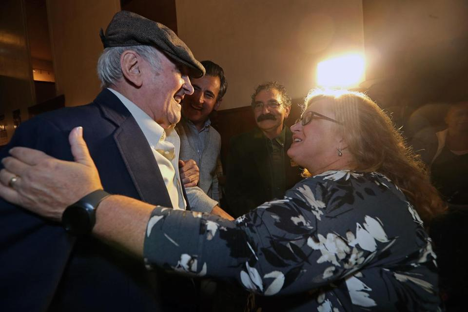 Stephan Ross greeted Gwen Allanson, daughter of Steve Sattler, who rescued Ross at Dachau. At rear is his son Mike Ross and film director Roger Lyons.